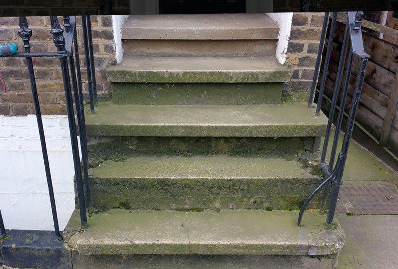 Stone steps in Battersea - before restoration