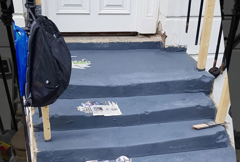 Damaged stone steps Knightsbridge