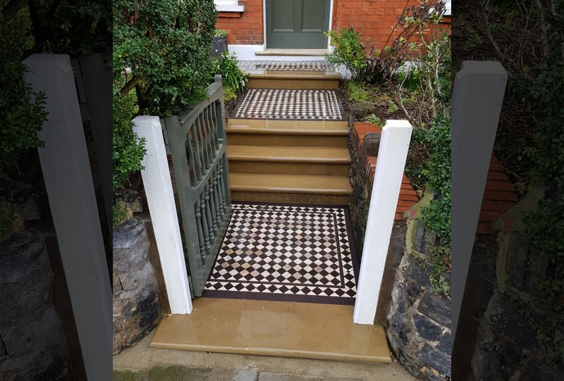 Restored mosaic and York stone steps in London