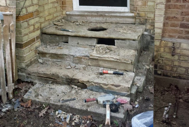 Damaged stone steps in Woodford London