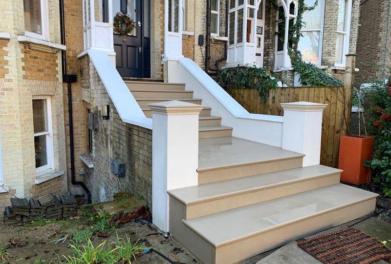 Photo of new stone steps in Kilburn London
