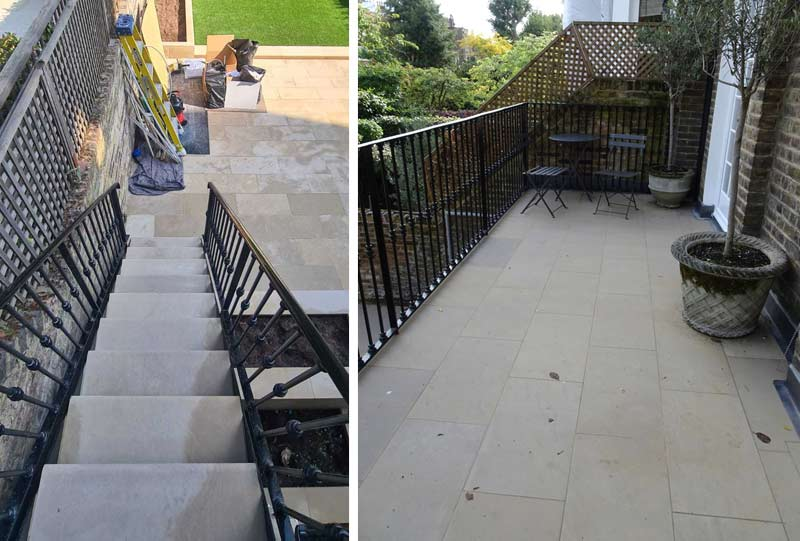 New stone balcony paving and steps