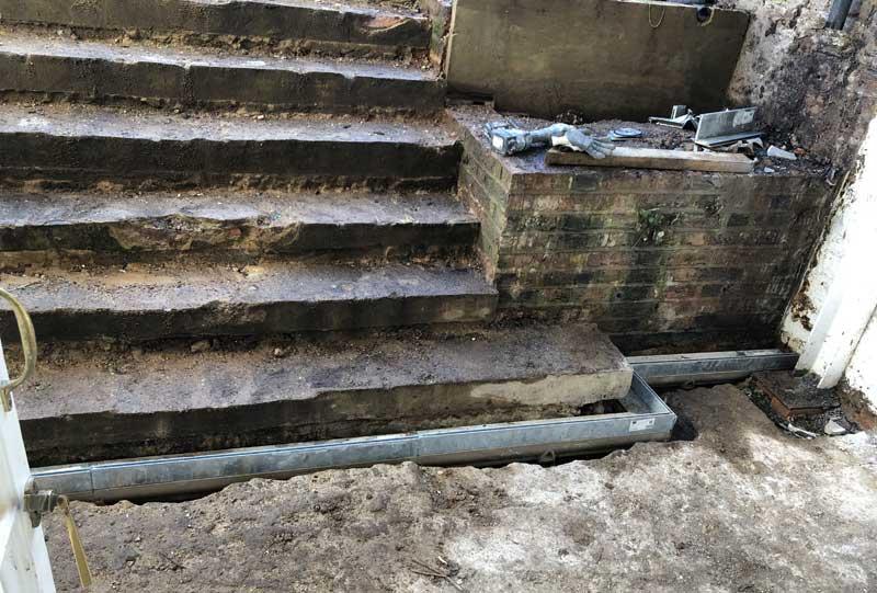 Basement steps before