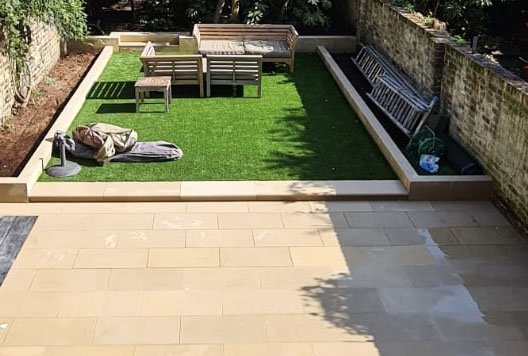 Stone paving for a London garden